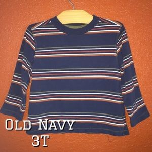 Old Navy Striped Navy Long Sleeve Top 3T