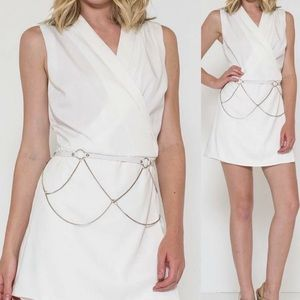 Solid Wrap Romper with Chain Belt