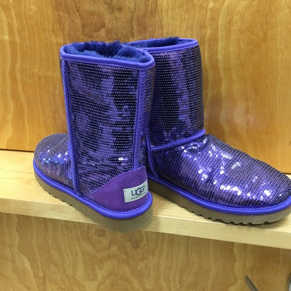purple and silver sparkle uggs