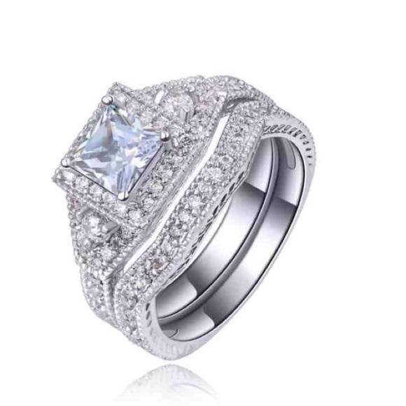 Jewelry Princess Cut Puzzle Piece Silver Wedding Ring Set Poshmark