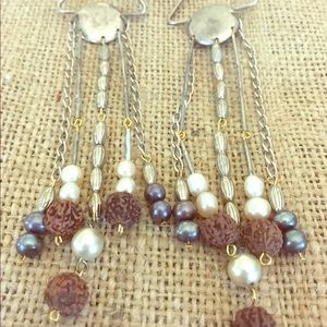 Jewelry - Handmade Earrings with metal & pearl beads