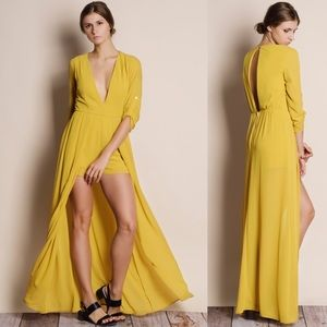 Solid Chiffon Maxi Romper Dress