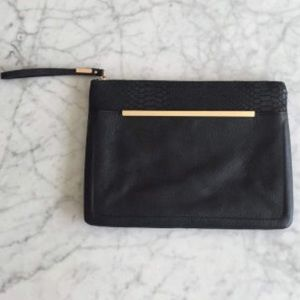 ASOS leather clutch with gold hardware