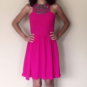Dresses & Skirts - Magenta beaded dress
