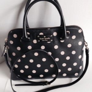 Kate Spade Rachelle Black Polka Dot Satchel Bag