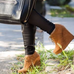 Forever 21 Shoes - Cognac Brown Faux Suede Lace Up Wedge Boots