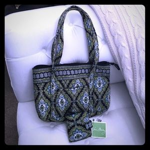 Vera Bradley Green and Blue matching tote & wallet