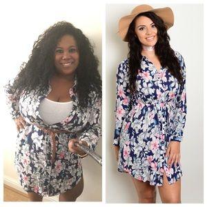Plus Size clothing Floral button down shirt dress
