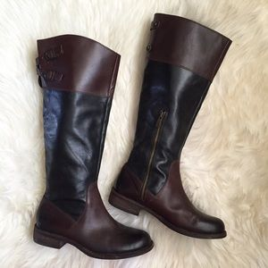 Vince Camuto Brown/Black Leather Riding Boots