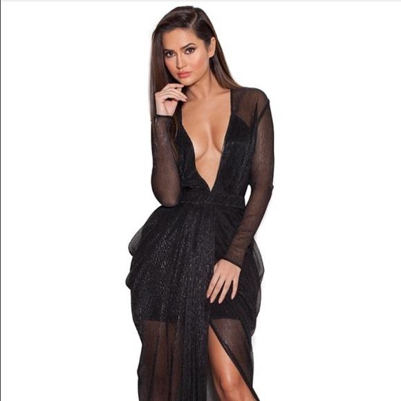 House Of Cb Dresses Blanca Black Shimmer Sheer Chiffon Maxi Dress