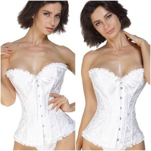 Other - Plus Size Pure White Brocade Satin Corset! NWTs!🎀