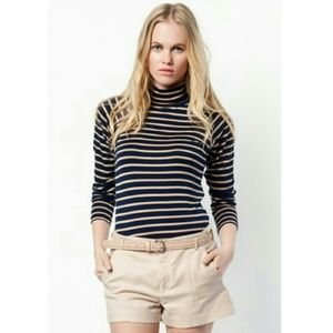 Zara Tops - Zara Basic Striped Turtleneck T Shirt