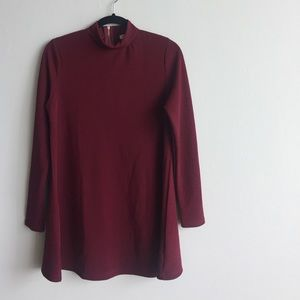 Brave Soul Burgundy Long sleeve Swing Dress Small