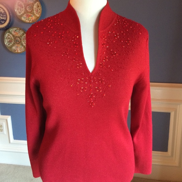 97% off Dress Barn Sweaters - Dress Barn Red Embellished Sweater ...