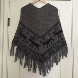 Steve Madden fringed cape with tassels