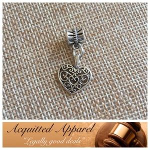 Acquitted Apparel Jewelry - Silver filigree Heart Charm Fits Pandora