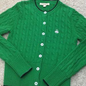 Brooks Bros. green cardigan, XS girl