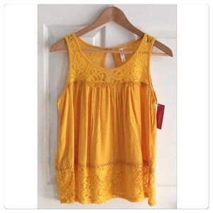 Golden Lace Detail Tank NWT