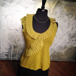 Anthropologie deletta chartreuse mustard top -xs