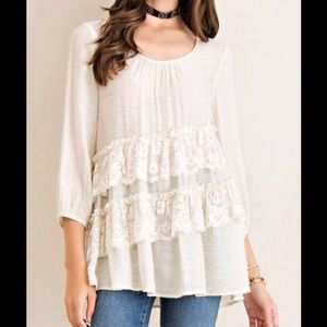 CRINKLE TOP ASYMMETRICAL TIERING~Color Natural NWT