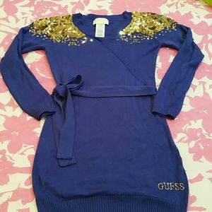 Girls Adorable blue and gold sweater dress/tunic