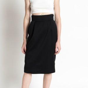 Vintage Dresses & Skirts - Vintage 1990's Black Wool High Waist Pencil Skirt
