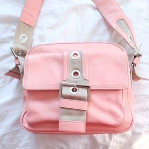 Handbags - Soft Leather Shoulder Handbag - Pretty Pink/Khaki