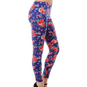 Blue & red rose leggings