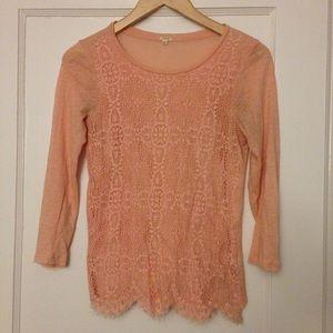 J Crew Crochet Lace Front Tee