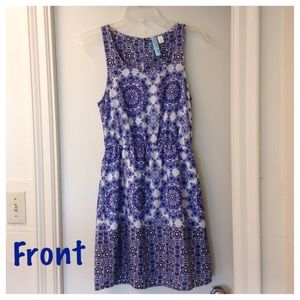 Blue & White Medallion Print Sleeveless Dress