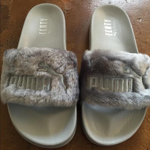 rihanna puma sandals grey