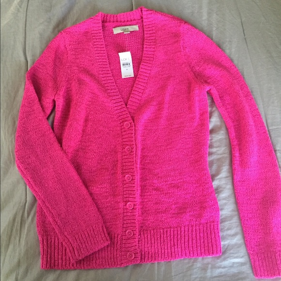 75% off LOFT Sweaters - LOFT hot pink button up sweater. from ...