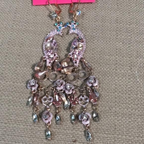 83 off Betsey Johnson Jewelry Nwt Bling Peacock Earrings Poshmark