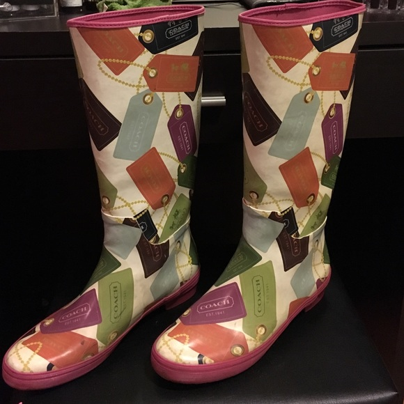 60% off Coach Shoes - Coach multi colored rain boots from Ms's ...