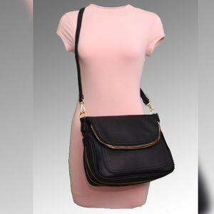 Handbags - Black Vega Leather Saddlebag