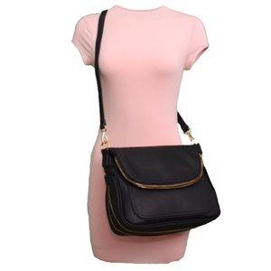 Handbags - Black Vegan Leather Saddlebag