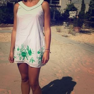 White with green floral dress