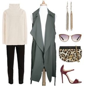 Sleeveless Military Belted Trench Jacket