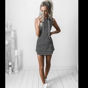 New Striped Sleeveless Hooded Dress💕