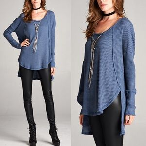 1 HR SALECHERYL waffle long sleeve top - BLUE