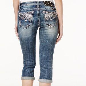 Miss Me Denim - Miss Me Embellished Cropped Dark Blue Wash Jeans