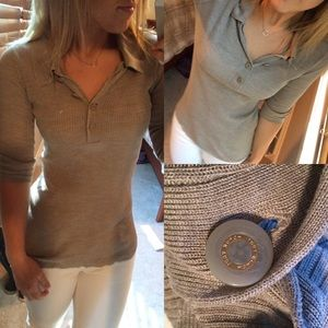 Tory Burch 3/4 length sweater polo silk s button