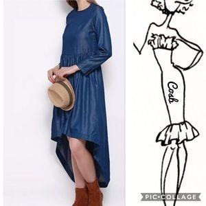 Sale🔥🔥2 Left! Denim High Low Dress