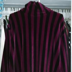 Tapemeasure Sweaters - Velour Vertical Striped Turtleneck Sweater