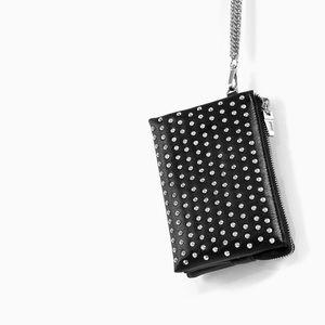 Zara Black Studded Chain Wristlet