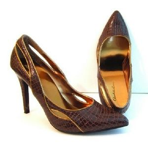 Shoes Gold Trim  Brown Reptile Heels size 7