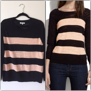 Madewell Cream & Black Wide Striped Sweater