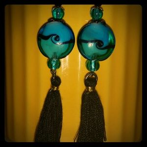 my own  Jewelry - Aqua Marine Glass, black silky Tassels n crystals