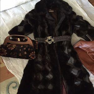 Vintage faux fur real leather coat