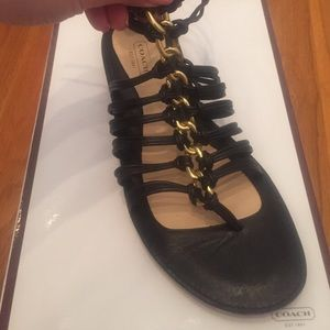 Coach Black Gladiator Sandals